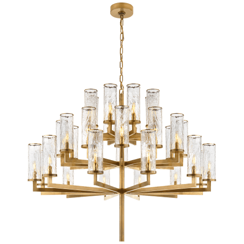 Liaison Triple Tier Chandelier in Antique-Burnished Brass with Crackle Glass