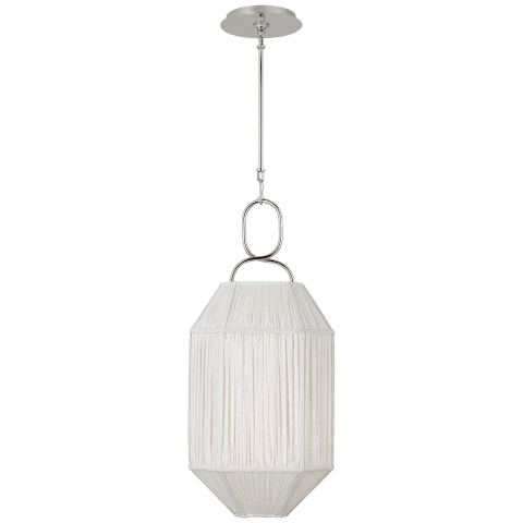 Forza Small Lantern in Polished Nickel with Gathered Linen Shade