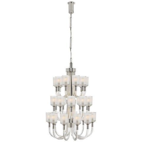 Reverie Large Three-Tier Chandelier in Clear Ribbed Glass and Polished Nickel