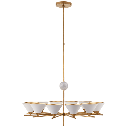 Cleo Large Chandelier in Antique-Burnished Brass with Antique White Shades