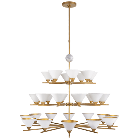 Cleo Three-Tier Chandelier in Antique-Burnished Brass and White Marble with Antique White Shades