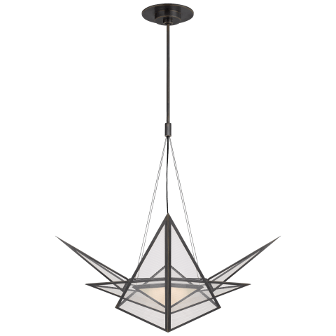 Ori Medium Chandelier in Bronze with Clear Lined Glass
