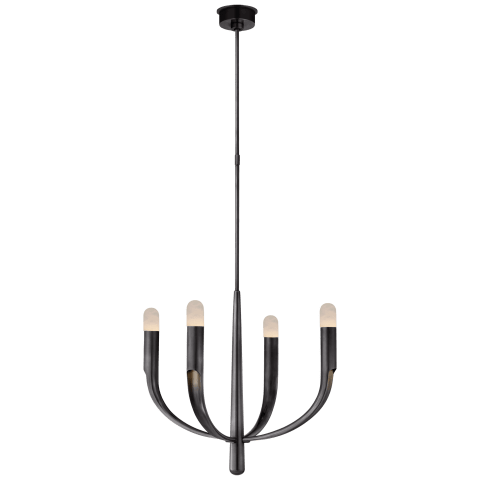 Verso Small Chandelier in Bronze with Alabaster