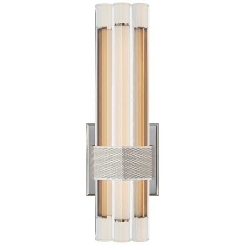 """Fascio 14"""" Asymmetric Sconce in Polished Nickel with Crystal"""
