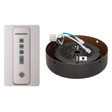 Hand-held remote control transmitter, receiver, holster and ROMAN BRONZE receiver hub. Fan reverse, speed, and downlight control White