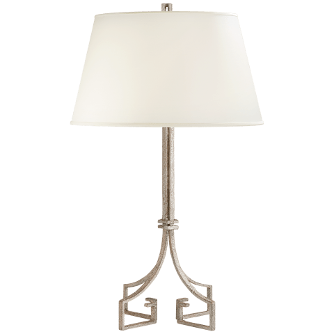 Rhodes Table Lamp in Venetian Silver with Silk Shade