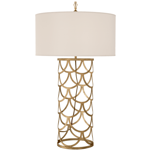 Serena Barrel Table Lamp in Gilded Iron with Silk Shade