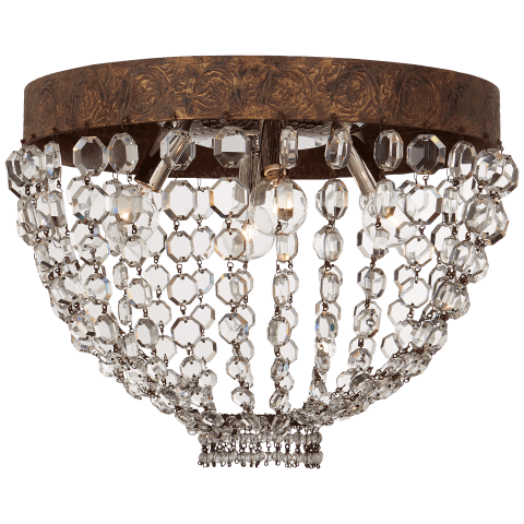 Lyon Medium Flush Mount in Antique Gild and Polychrome with Crystal