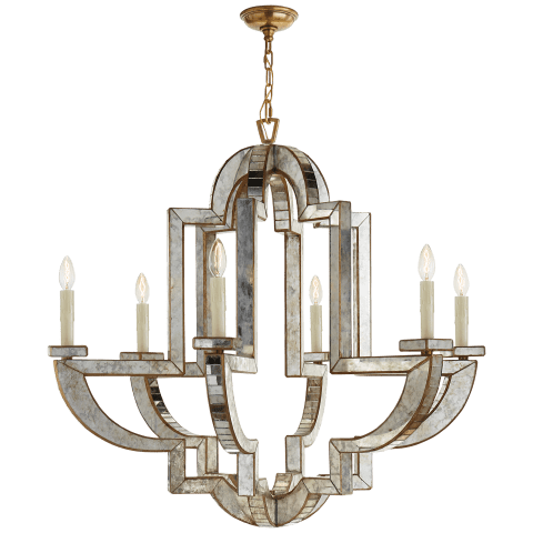 Lido Large Chandelier in Antique Mirror and Hand-Rubbed Antique Brass