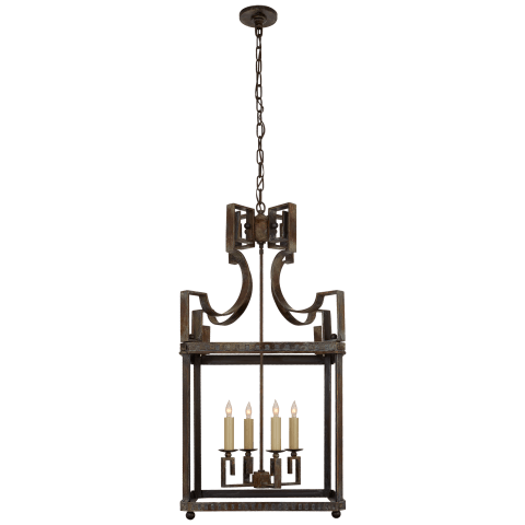 Severn Large Square Lantern in Weathered Verdigris