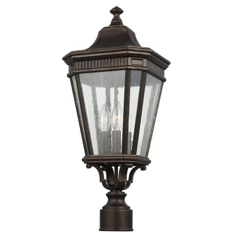 Cotswold Lane 3 - Light Post/Pier Lantern Grecian Bronze