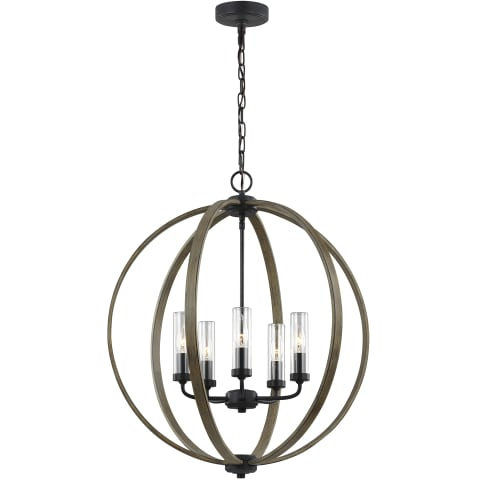 Allier 5 - Light Outdoor Chandelier Weathered Oak Wood / Antique Forged Iron