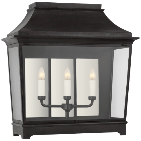 Rosedale Classic Wide 3/4 Wall Lantern in French Rust with Clear Glass