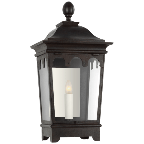 Rosedale Grand Small 3/4 Wall Lantern in French Rust with Clear Glass