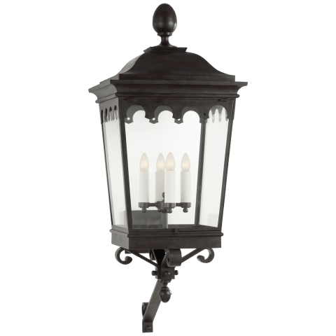 Rosedale Grand Large Bracketed Wall Lantern in French Rust with Clear Glass
