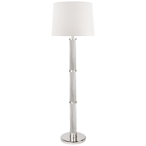 Allen Floor Lamp in Polished Nickel and Glass Rods with White Paper Shade