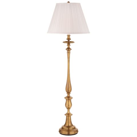 Darien Floor Lamp in Natural Brass with Silk Shade