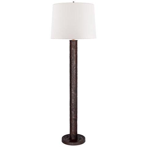 Dakota Floor Lamp in Brown Embossed Leather with White Paper Shade