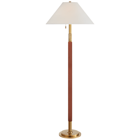 Garner Floor Lamp in Natural Brass and Saddle Leather with Percale Shade