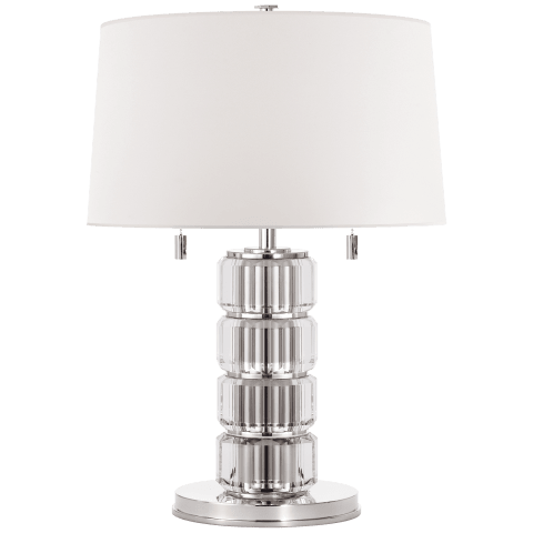Brookings Table Lamp in Crystal and Polished Nickel with White Paper Shade