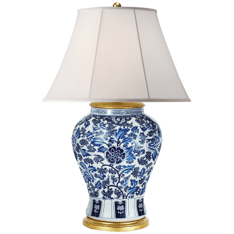 Marlena Small Table Lamp in Blue and White Porcelain with Silk Shade