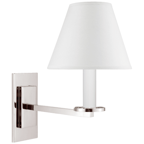 Railroad Sconce Wall Lamp in Polished Nickel with White Paper Shade