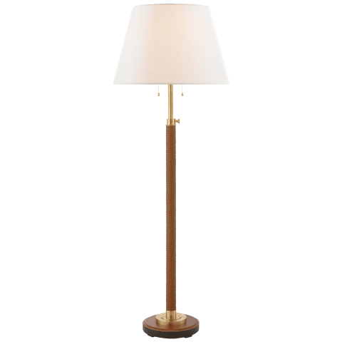 Pierson Floor Lamp in Saddle Braided Leather with Linen Shade