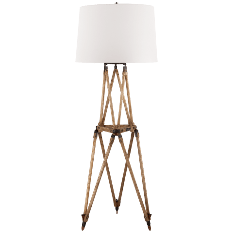 Quincy Floor Lamp in Vintage Oak with White Paper Shade