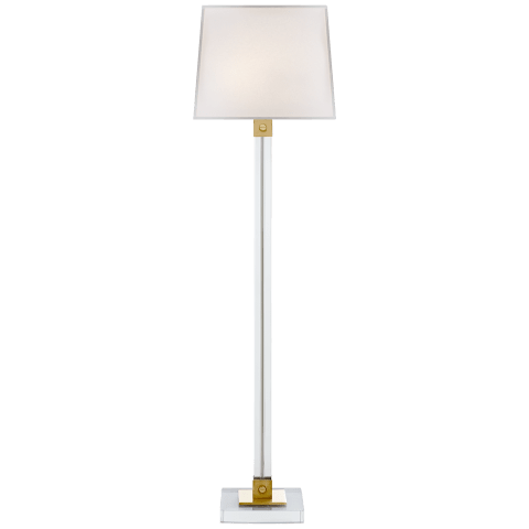Varick Floor Lamp in Crystal and Natural Brass with Percale Shade