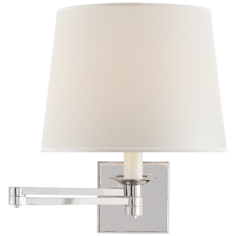 Evans Swing Arm Sconce in Polished Nickel with Percale Shade