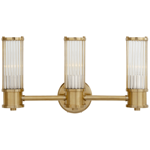 Allen Triple Sconce in Natural Brass and Glass Rods