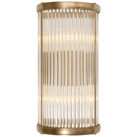 Allen Small Linear Sconce in Natural Brass and Glass Rods