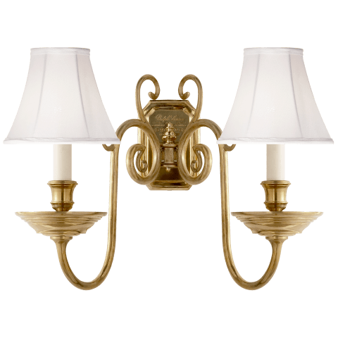 Lillianne Double Sconce in Natural Brass