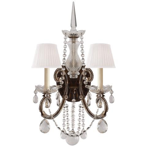 Adrianna Double Sconce in Antique Gild with Antiqued Crystals and Silk Shades