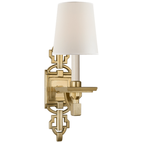 Evanna Sconce in Natural Brass with Percale Shade