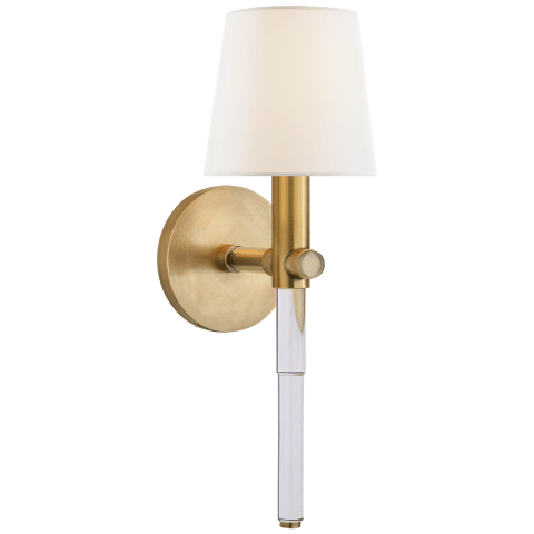 Sable Tail Sconce in Crystal and Natural Brass with Linen Shade