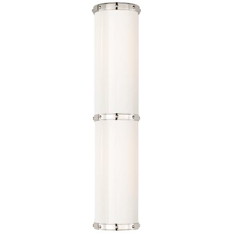 Bleeker Double Bath Sconce in Polished Nickel with White Glass