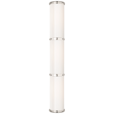 Bleeker Triple Bath Sconce in Polished Nickel with White Glass