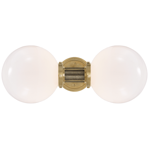 McCarren Double Sconce in Natural Brass with White Glass