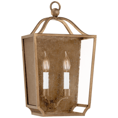 Beatrice Medium 3/4 Wall Lantern in Gilded Iron with Restoration Glass