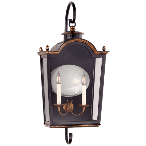 Brinkley Medium Bracketed Lantern in Old Black Tole with Clear Glass