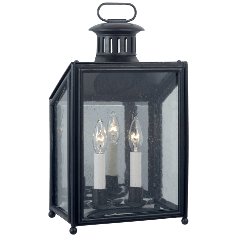 Mills Small Wall Lantern in Aged Iron with Restoration Glass