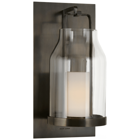 Ollie Small Wall Lantern in Bronze with Clear Glass