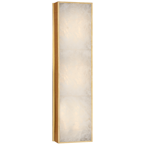 Ellis Medium Linear Sconce in Natural Brass and Natural Quartz