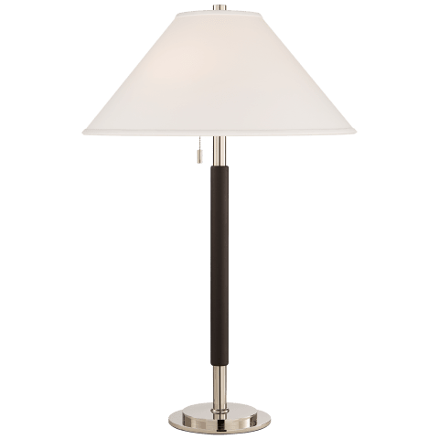 Garner Table Lamp in Polished Nickel and Chocolate Leather with Percale Shade