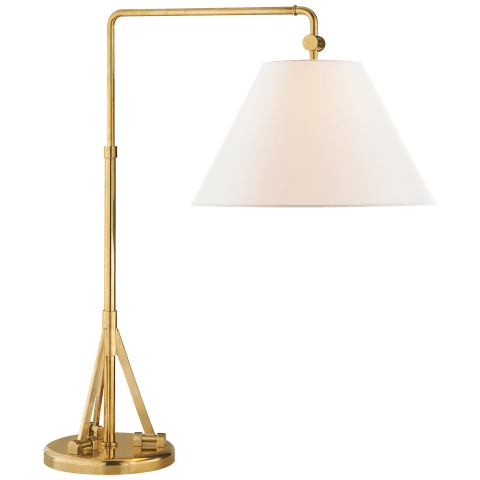 Brompton Swing Arm Table Lamp in Natural Brass with Linen Shade