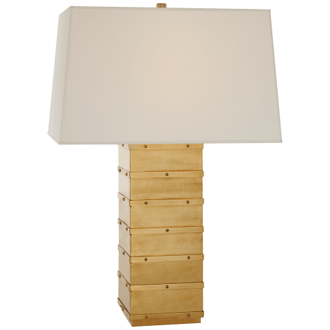 Bleeker Large Paneled Table Lamp in Natural Brass with Percale Shade