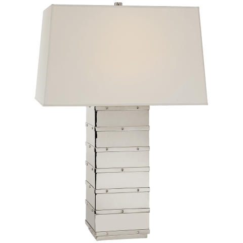Bleeker Large Paneled Table Lamp in Polished Nickel with Percale Shade