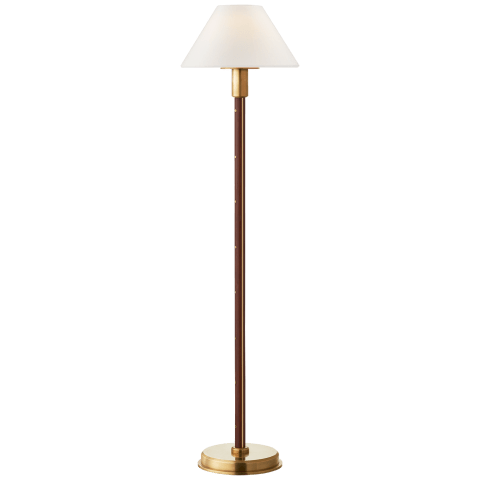 Radford Buffet Lamp in Natural Brass and Natural Rift Oak with Linen Shade