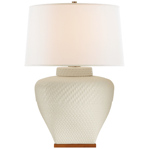 Isla Small Table Lamp in White Leather Ceramic with Linen Shade
